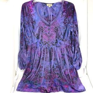 One World Tunic Top Blouse XL Boho Purple Blue